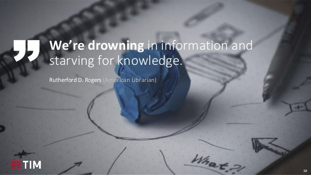 38 We're drowning in information and starving for knowledge. Rutherford D. Rogers (American Librarian)