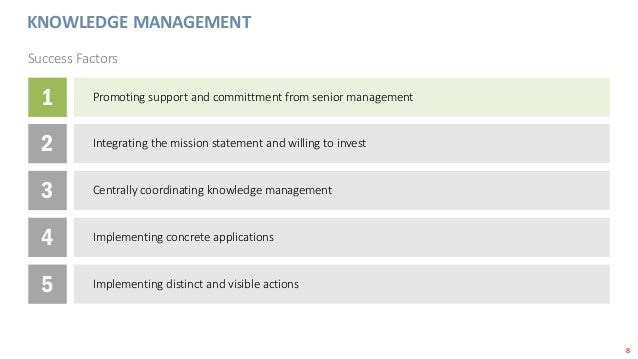 8 KNOWLEDGE MANAGEMENT Success Factors 1 Promoting support and committment from senior management 2 Integrating the missio...