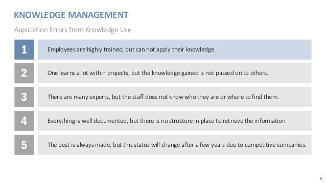 9 KNOWLEDGE MANAGEMENT Application Errors from Knowledge Use 1 Employees are highly trained, but can not apply their knowl...
