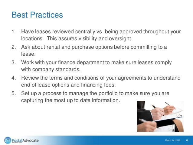Best Practices 1. Have leases reviewed centrally vs. being approved throughout your locations. This assures visibility and...