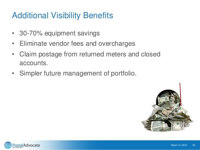 Additional Visibility Benefits • 30-70% equipment savings • Eliminate vendor fees and overcharges • Claim postage from ret...