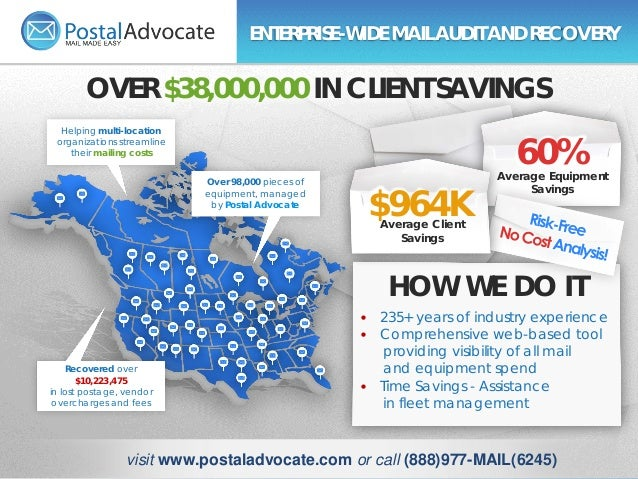 Helping multi-location organizations streamline their mailing costs Over 98,000 pieces of equipment, managed by Postal Adv...