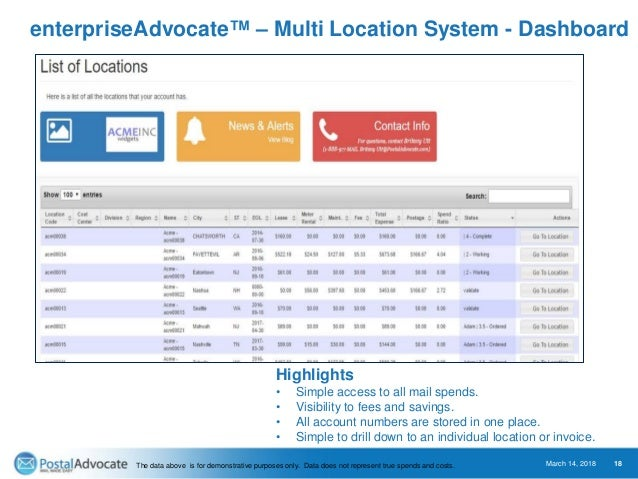 enterpriseAdvocate™ – Multi Location System - Dashboard March 14, 2018 18 Highlights • Simple access to all mail spends. •...