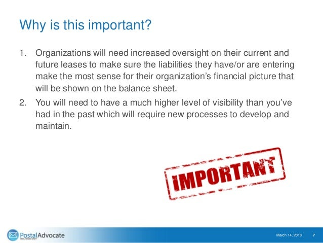 Why is this important? 1. Organizations will need increased oversight on their current and future leases to make sure the ...