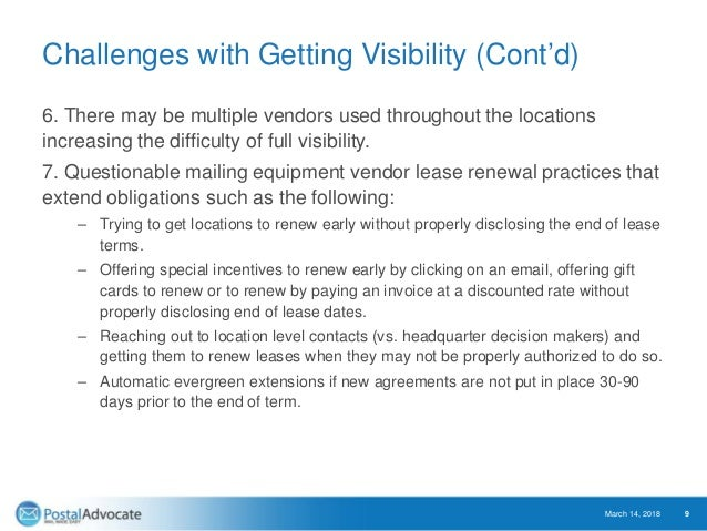Challenges with Getting Visibility (Cont'd) 6. There may be multiple vendors used throughout the locations increasing the ...