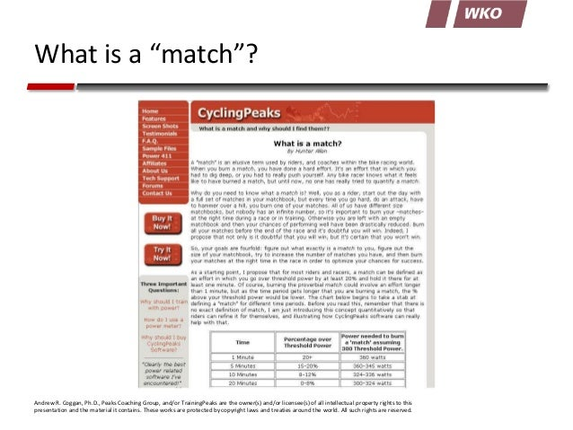 """What is a """"match""""?  Andrew R. Coggan, Ph.D., Peaks Coaching Group, and/or TrainingPeaks are the owner(s) and/or licensee(s..."""