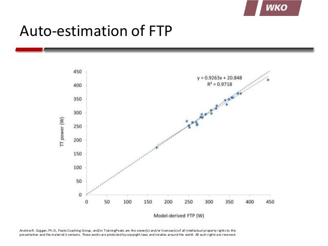 Auto-estimation of FTP  Andrew R. Coggan, Ph.D., Peaks Coaching Group, and/or TrainingPeaks are the owner(s) and/or licens...