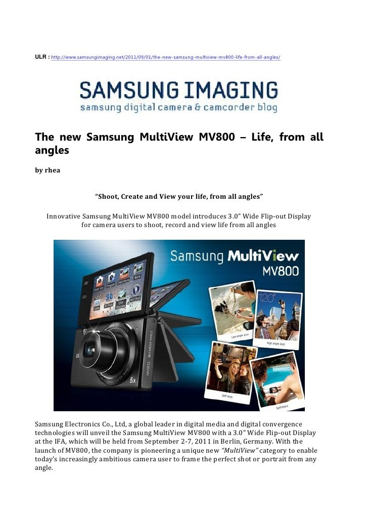 The new samsung multi view mv800 – life, from all angles