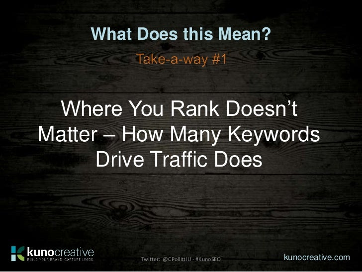 What Does this Mean? Where You Rank Doesn'tMatter – How Many Keywords      Drive Traffic Does         Twitter: @CPollittIU...