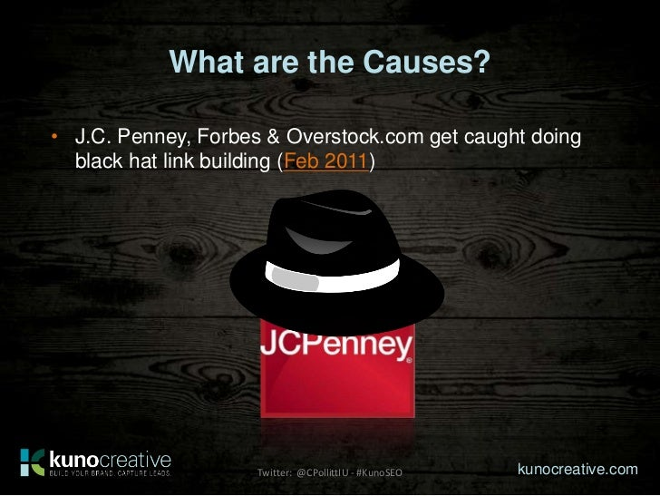 What are the Causes?• J.C. Penney, Forbes & Overstock.com get caught doing  black hat link building (Feb 2011)            ...