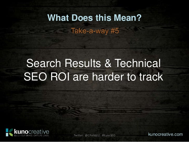 What Does this Mean?Search Results & TechnicalSEO ROI are harder to track         Twitter: @CPollittIU - #KunoSEO   kunocr...
