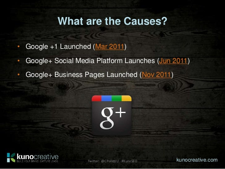 What are the Causes?• Google +1 Launched (Mar 2011)• Google+ Social Media Platform Launches (Jun 2011)• Google+ Business P...