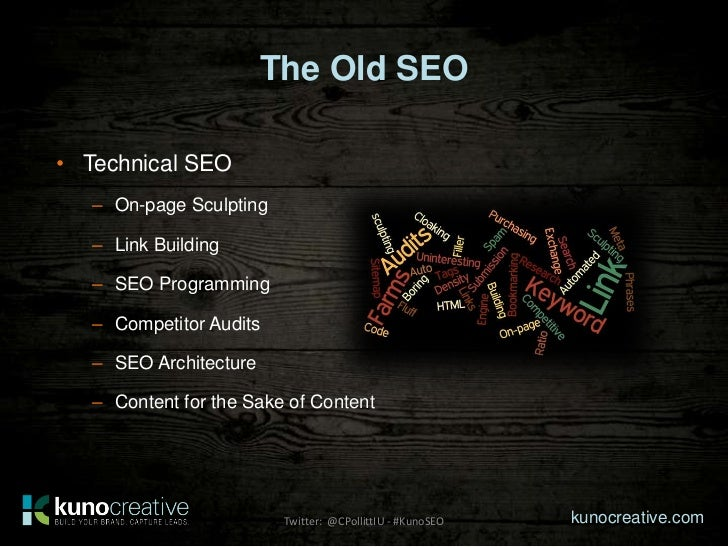 The Old SEO• Technical SEO   – On-page Sculpting   – Link Building   – SEO Programming   – Competitor Audits   – SEO Archi...