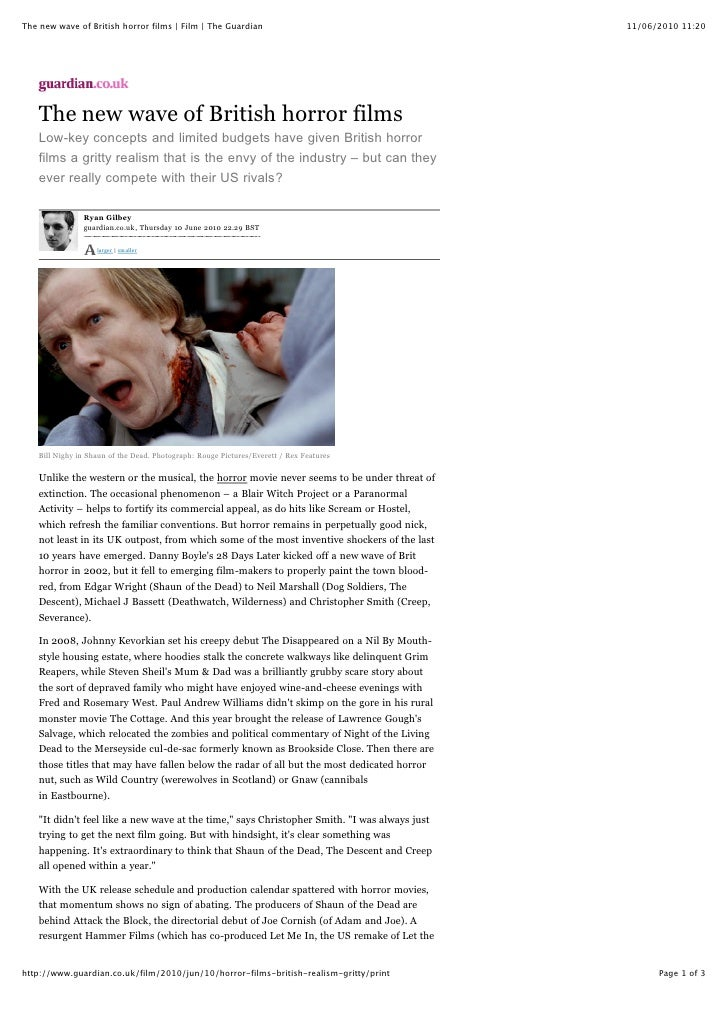The new wave of British horror films | Film | The Guardian                                     11/06/2010 11:20         Th...