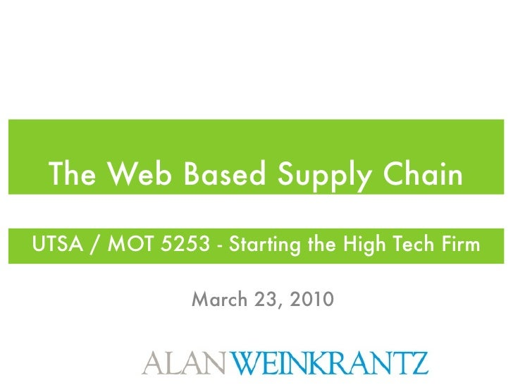 The Web Based Supply Chain  UTSA / MOT 5253 - Starting the High Tech Firm                 March 23, 2010