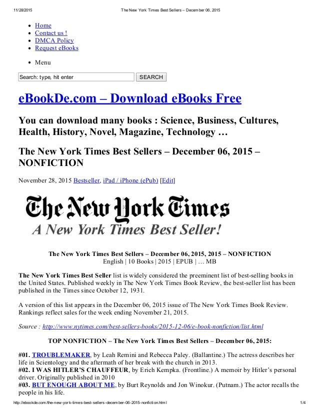 The new york times best sellers – december 06, 2015 nonfiction