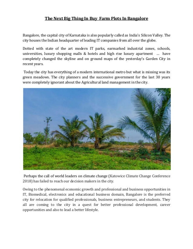 The Next Big Thing In Buy Farm Plots In Bangalore