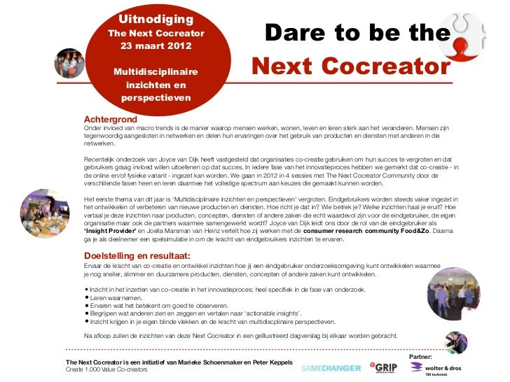 Uitnodiging              The Next Cocreator                23 maart 2012                                                  ...