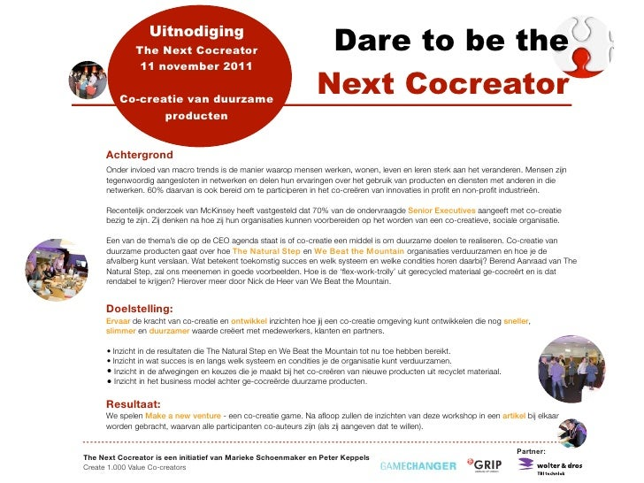 Uitnodiging              The Next Cocreator                                   Dare to be the               11 november 201...