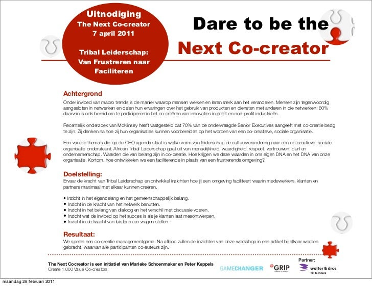 Uitnodiging                                 The Next Co-creator                                     7 april 2011          ...