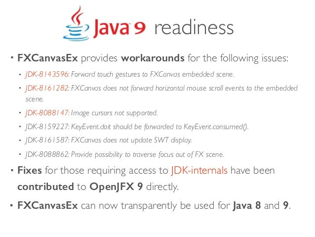 • FXCanvasEx provides workarounds for the following issues: • JDK-8143596: Forward touch gestures to FXCanvas embedded sce...