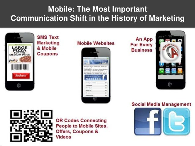 Title slide SMS text marketing & Mobile coupons QR Codes directing people to mobile websites, offers, coupons or videos So...