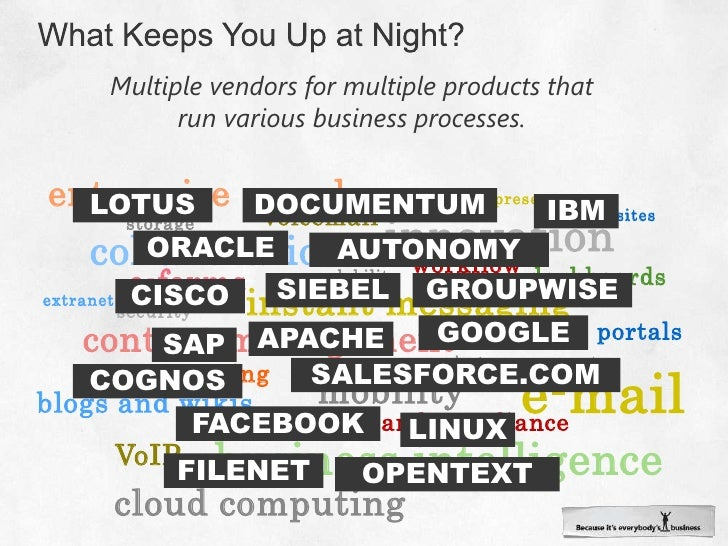 What Keeps You Up at Night?<br />Multiple vendors for multiple products that run various business processes.<br />enterpri...