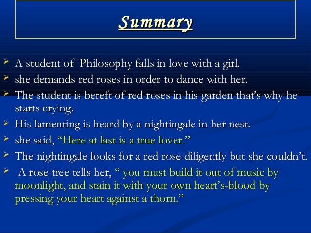 the nightingale and the rose summary