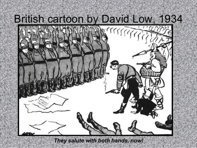 British cartoon by David Low, 1934  H I UN TL PR KE ER OM PT 'S IS ES  They salute with both hands, now!
