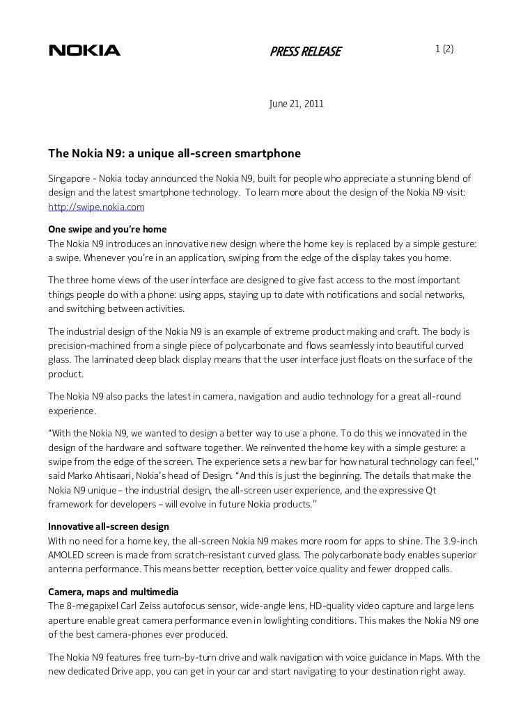 PRESS RELEASE                            1 (2)                                                      June 21, 2011The Nokia...