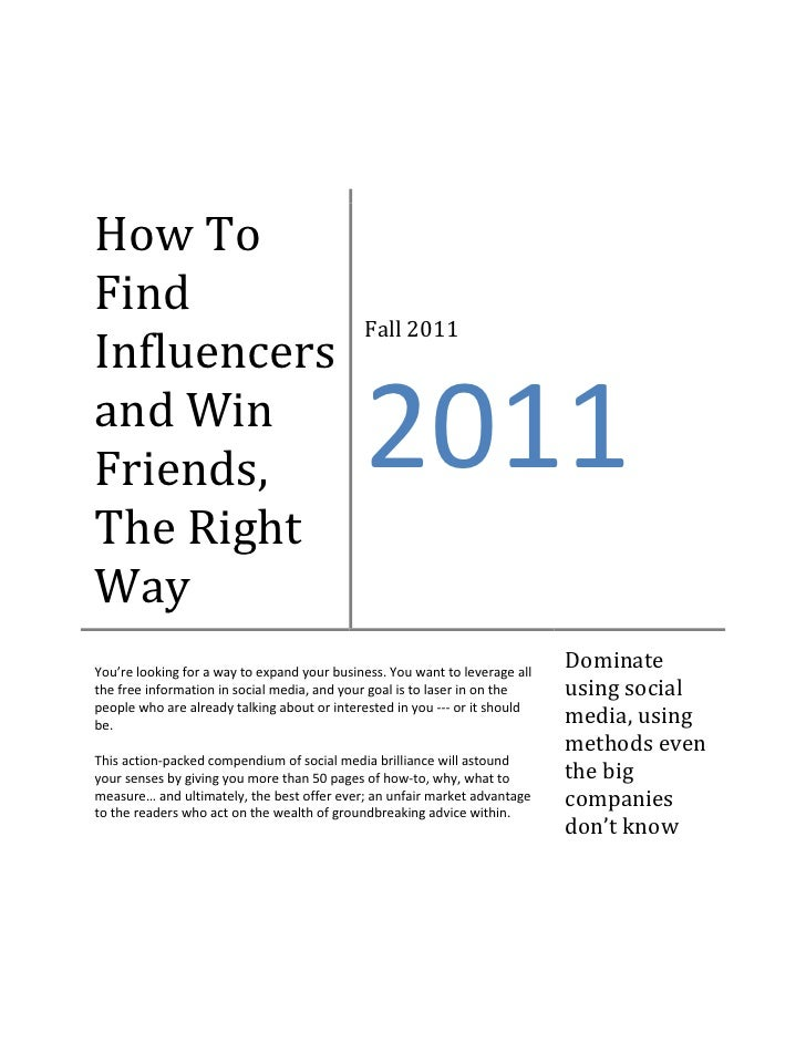 How ToFind                                             Fall 2011Influencersand WinFriends,                                ...