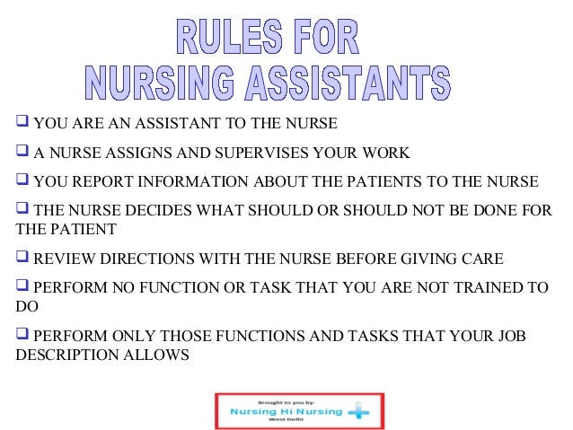 description allows 4 - Duties Of Nurse Assistant