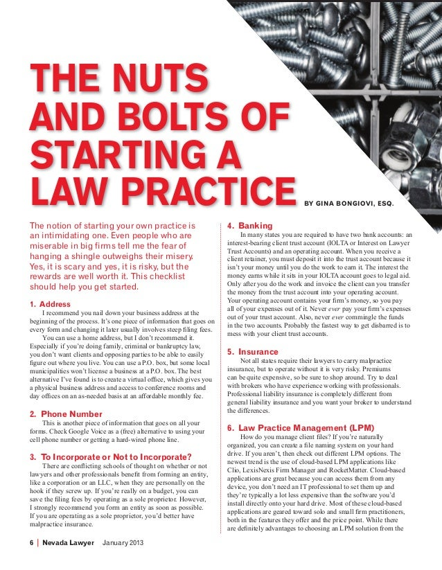 THE NUTS        AND BOLTS OF        STARTING A        LAW PRACTICE                                                        ...