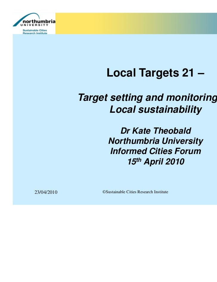Local Targets 21 –             Target setting and monitoring for                    Local sustainability                  ...