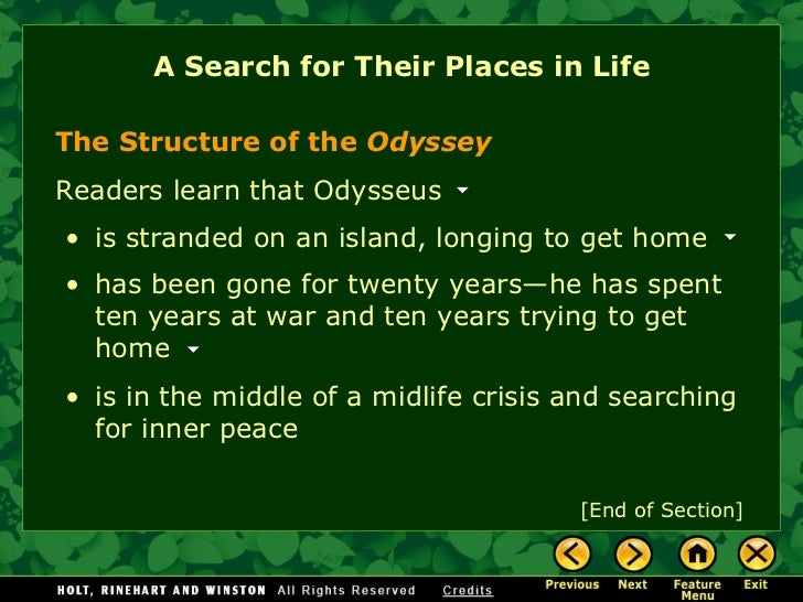 the odyssey longing for home In homer's odyssey, book v (also books i and vii), she entertained the greek  hero odysseus for seven years, but she could not overcome his longing for home .