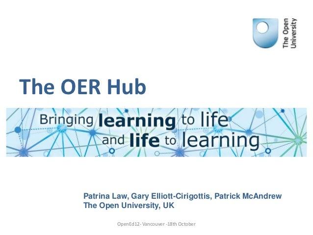 The OER Hub     Patrina Law, Gary Elliott-Cirigottis, Patrick McAndrew     The Open University, UK              OpenEd12- ...