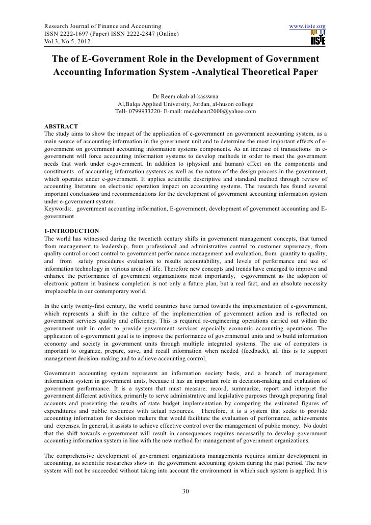 research paper on accounting information system The history of accounting information systems information technology essay ais is an integrated framework within a firm that employs physical resources to transform economic data into financial information for operating and managing the firm's activities, and reporting the firm's achievements to interested parties.