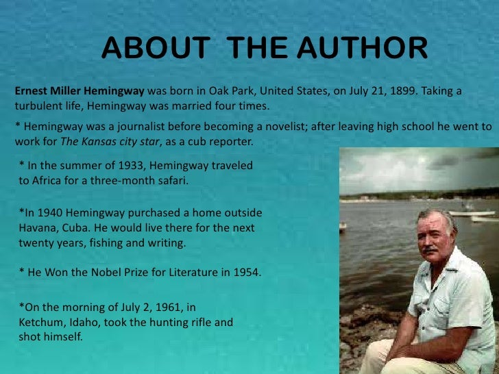 A literary analysis of the old man and the sea by ernest hemingway