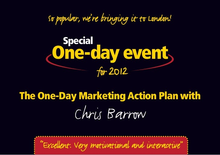 So popular, we're bringing it to London!           Special       One-day event       One-off date for 2012The One-Day Mark...
