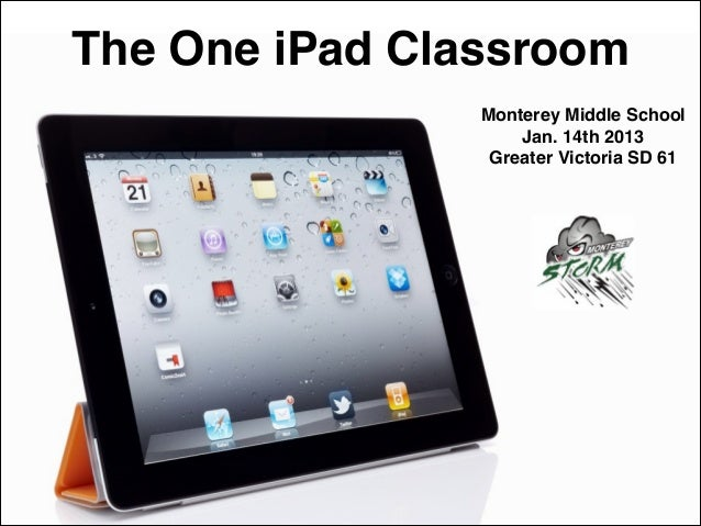 The One iPad Classroom Monterey Middle School! Jan. 14th 2013! Greater Victoria SD 61