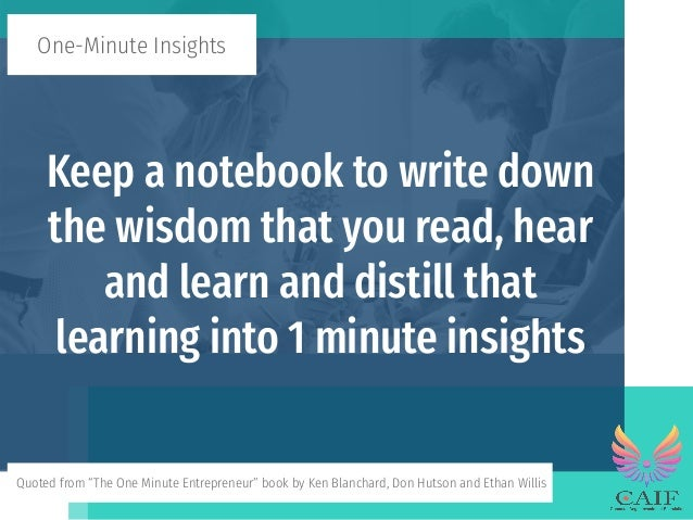 The One Minute Entrepreneur - One-Minute Insights Slide 3