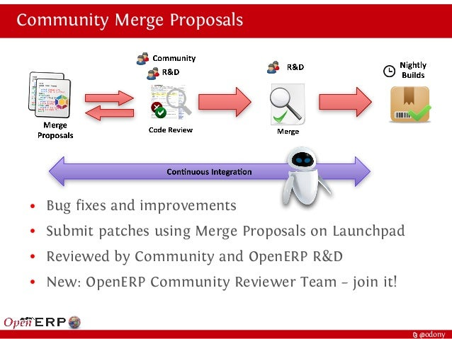 t @odony Community Merge Proposals ● Bug fixes and improvements ● Submit patches using Merge Proposals on Launchpad ● Revi...