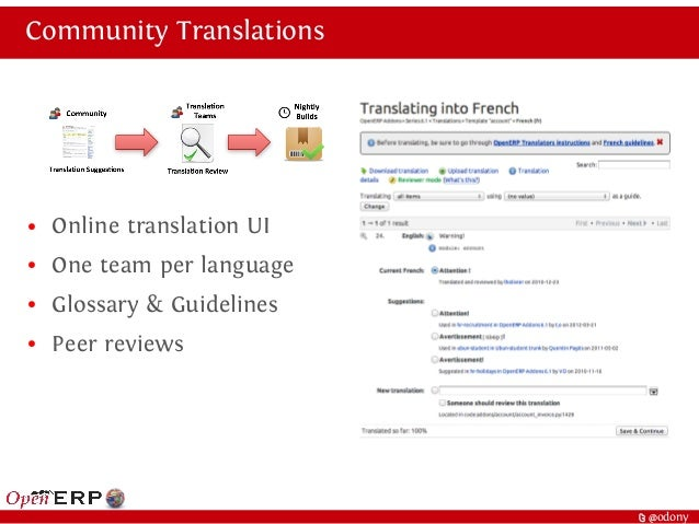 t @odony Community Translations ● Online translation UI ● One team per language ● Glossary & Guidelines ● Peer reviews