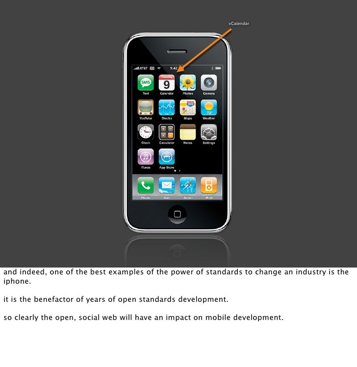 vCalendar     and indeed, one of the best examples of the power of standards to change an industry is the iphone.  it is t...