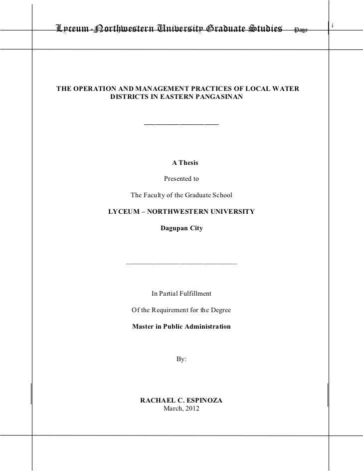 Lyceum-Northwestern University Graduate Studies      Page                                                            iTHE ...