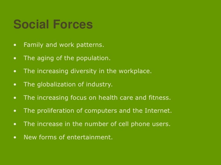Social Forces<br /><ul><li> Family and work patterns.