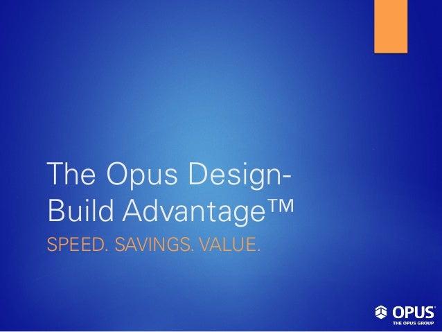The Opus Design- Build Advantage™ SPEED. SAVINGS. VALUE.