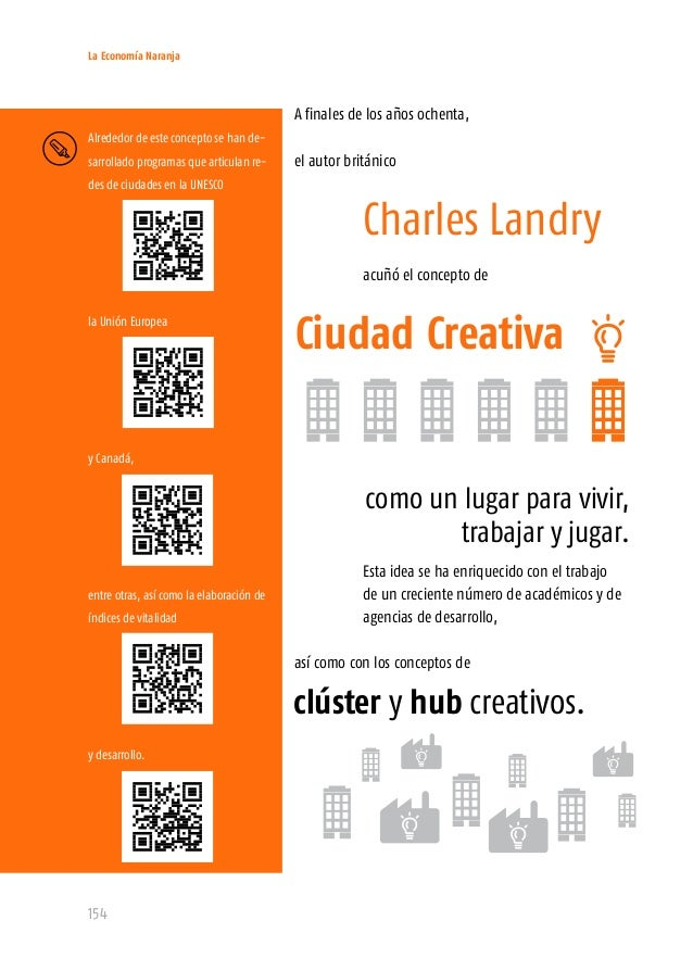La Economía Naranja 156 El clúster creativo es, simplemente, un edificio, un barrio o cualquier espa- cio geográfico relat...