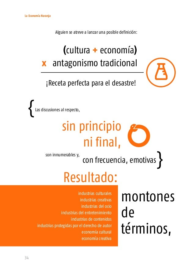 La Economía Naranja 36 1. Creatividad, artes y cultura como materia prima. 2. Relación con los derechos de propiedad intel...
