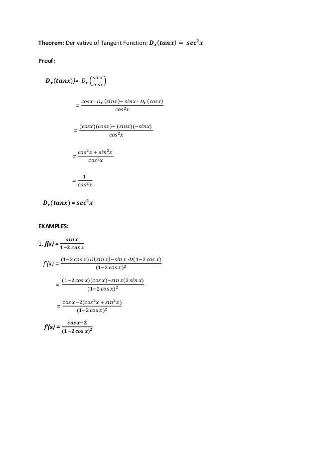 derivatives of basic trigonometric functions